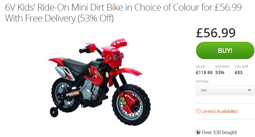 6v Kids Ride On Mini Dirt Bike In Choice Of Colour For