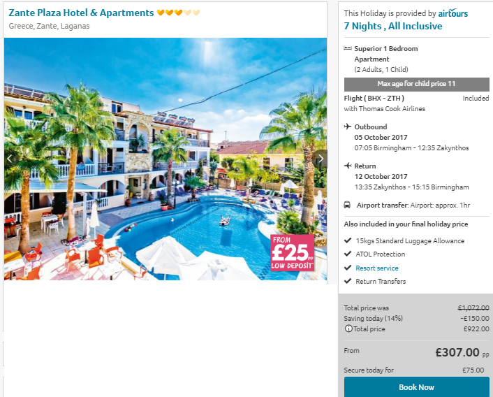 2017 Holiday All Inclusive Zante Package Holiday Just 163