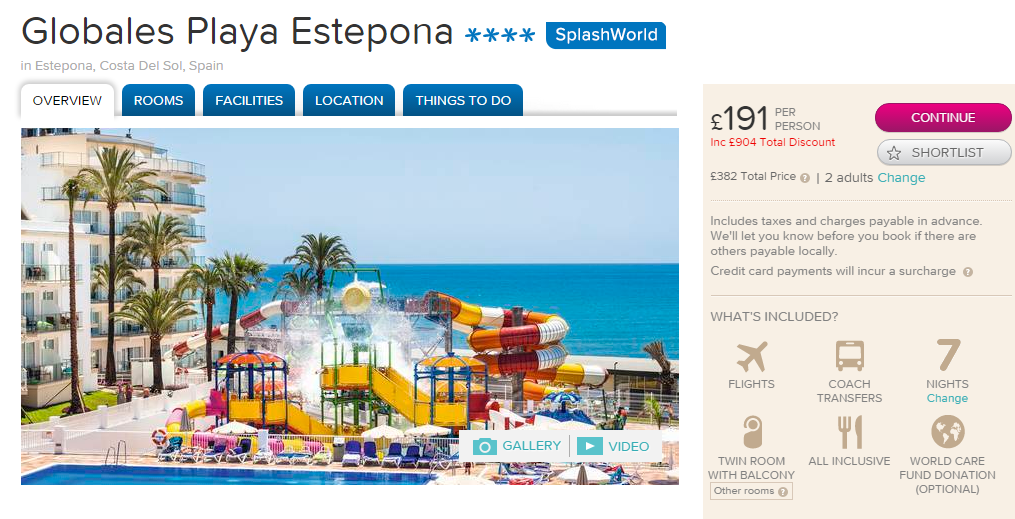 4 All Inclusive Package Holiday To Estepona Costa Del