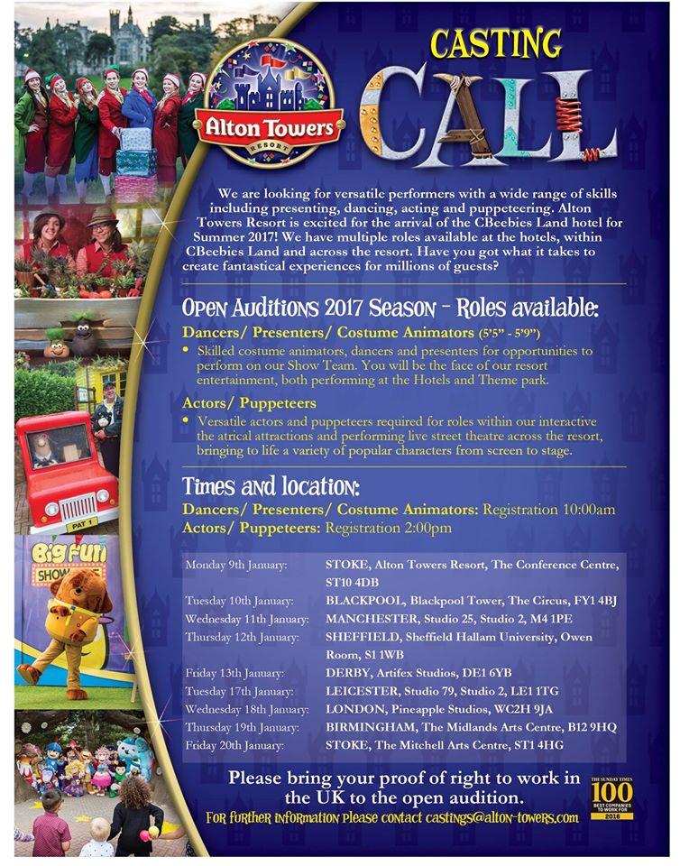Alton Towers Casting Call – Jobs 2017 – SunshineStacey