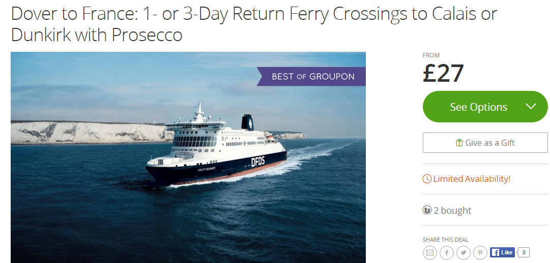 how much is a ferry crossing to france